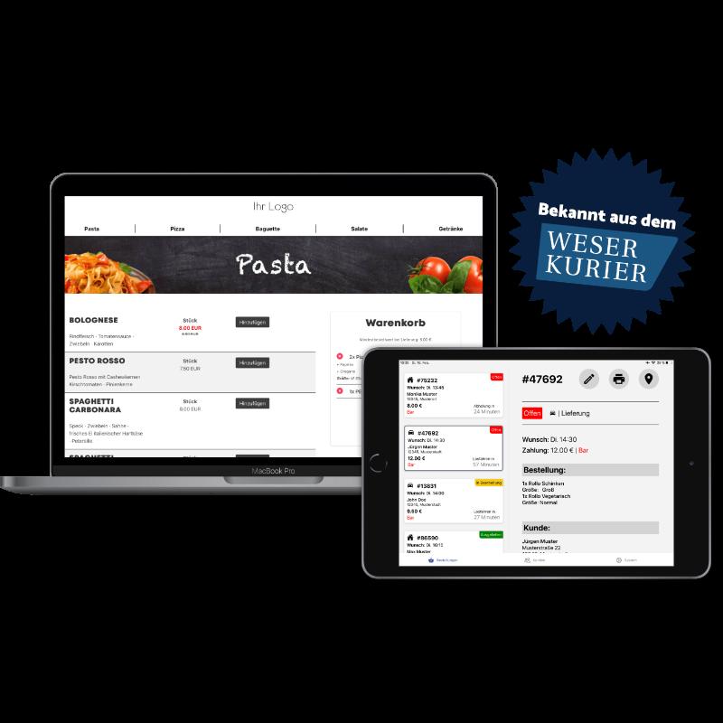 Lieferdienst und Lieferservice Programm. Pizza Onlineshop Programm