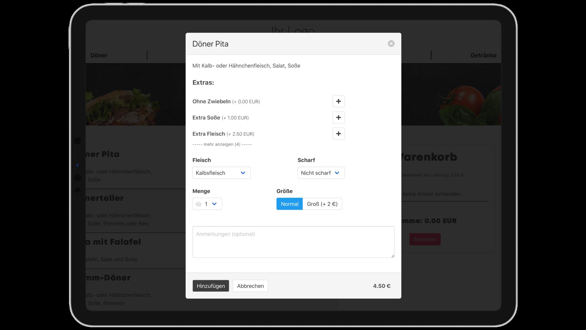 Optionsauswahl im Foodsta Online-Shop